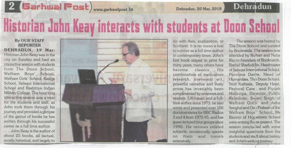 Eminent historian John Keay at Doon School